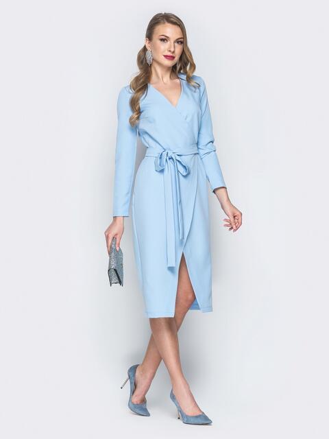 Платье из костюмной ткани с запахом голубое - 18787, фото 1 – интернет-магазин Dressa