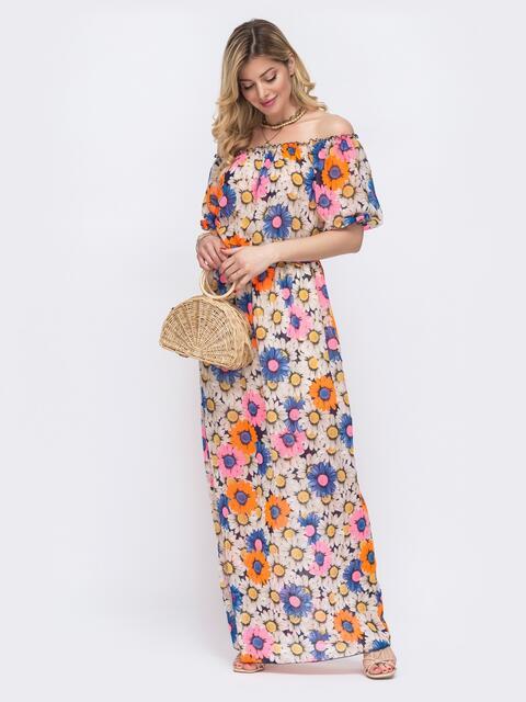 Платье-макси из принтованного шифона с открытой линией плеч - 48504, фото 1 – интернет-магазин Dressa