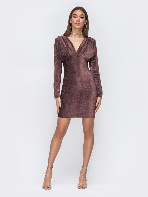 Платье-мини с люрексом и драпированым лифом коричневое 43019, фото 1
