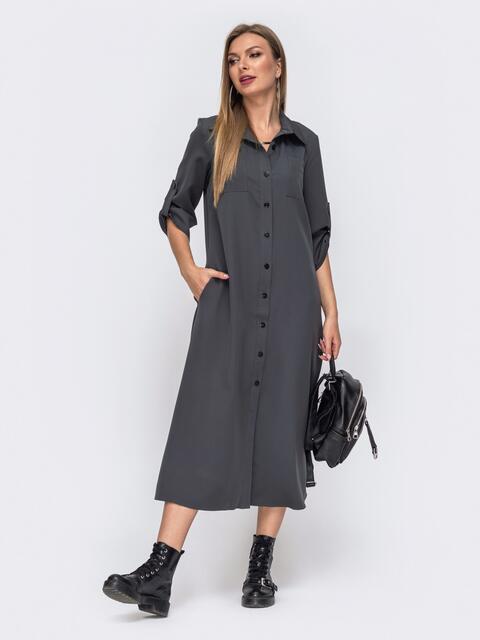 Серое платье-рубашка с накладными карманами 51041, фото 1