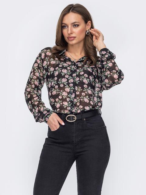 Шифоновая блузка на пуговицах черная 53634, фото 1