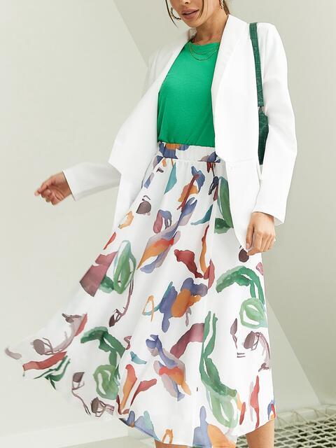 Шифоновая юбка-миди с абстрактным принтом белая 54189, фото 1
