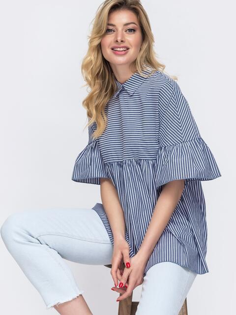 Синяя блузка свободного кроя в узкую полосу - 48422, фото 1 – интернет-магазин Dressa