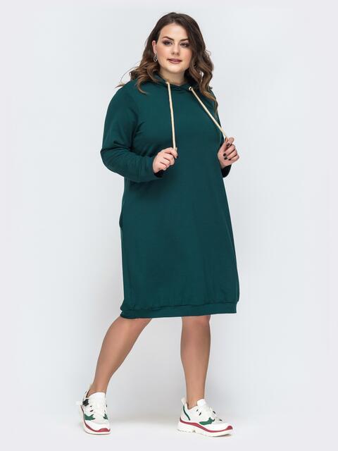 Свободное платье батал с капюшоном батал зеленое 45202, фото 1