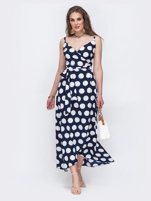 Тёмно-синее платье-макси на запах в крупный горох 48502, фото 1