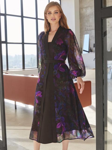Черное платье из шифона в цветочный принт с V-образным вырезом 54974, фото 1