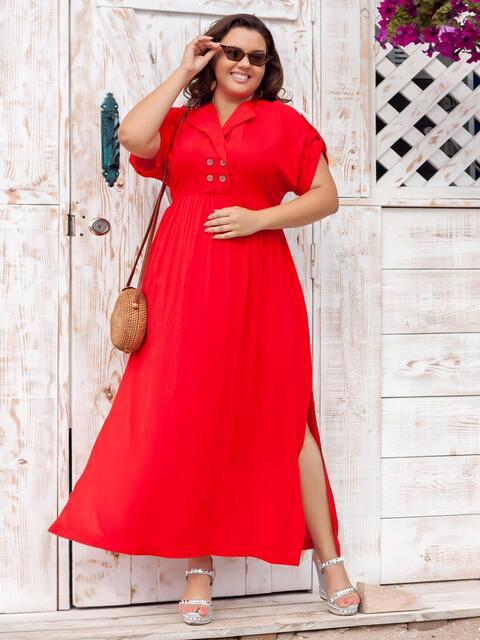 Длинное платье батал с разрезами по бокам красное 47676, фото 1