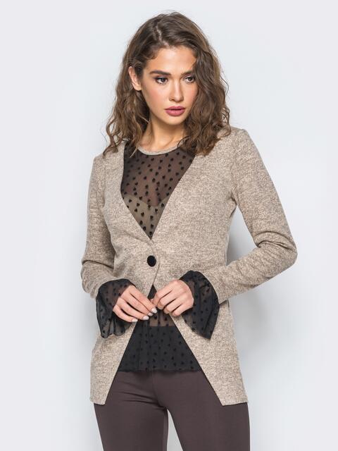 Кофта с имитацией пиджака и топа из фатина розовая - 17608, фото 1 – интернет-магазин Dressa