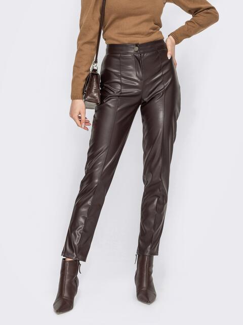 Коричневые брюки из экокожи с завышенной талией 53132, фото 1