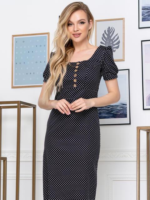 Обтягивающее платье-миди темно-синего цвета в горох 48778, фото 1
