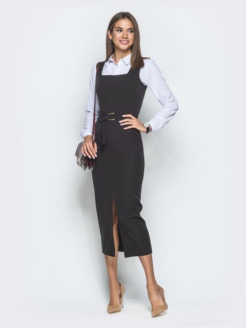 Платье-футляр с квадратным вырезом горловины и разрезом чёрное 39917, фото 1