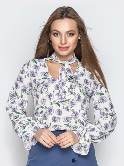 Принтованная блузка из софта с фигурным вырезом серая - 20973, фото 1 – интернет-магазин Dressa
