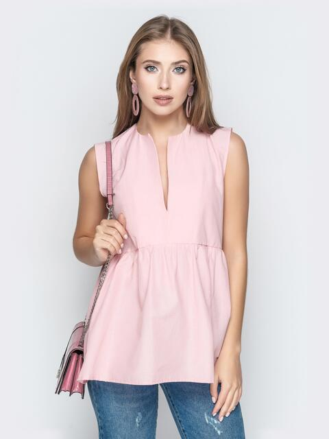 Пудровая блузка с завышенной талией и V-вырезом 20512, фото 1