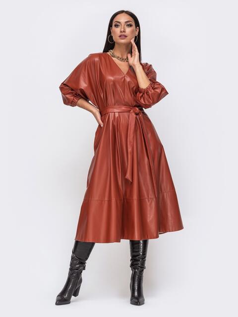 Расклешенное платье батал из эко-кожи терракотовое 51500, фото 1