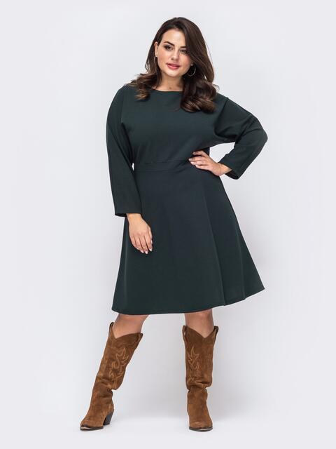 Расклешенное платье батал с цельнокроеным рукавом зеленоё 51498, фото 1
