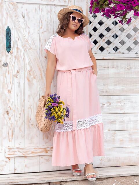 Расклешенное платье-макси большого размера пудровое 47671, фото 1