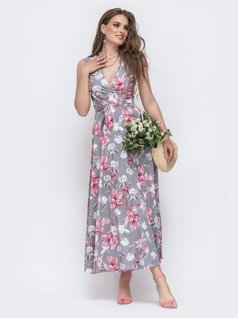 Серое платье на запах в цветочный принт 47074, фото 1