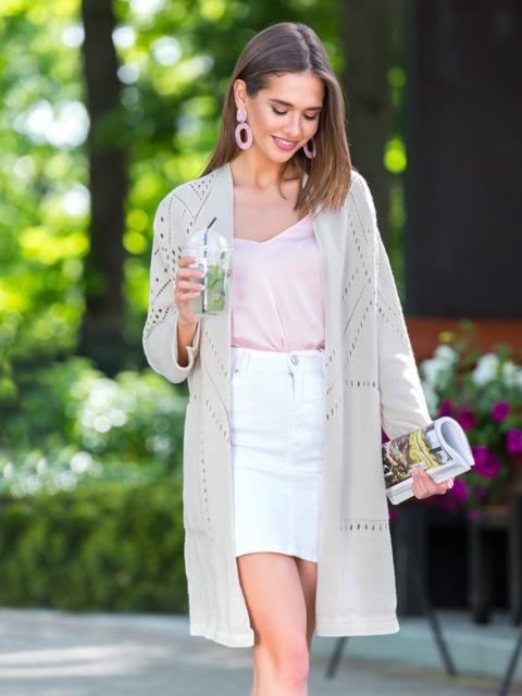 Вязаный кардиган oversize бежевого цвета с карманами - 38752, фото 1 – интернет-магазин Dressa