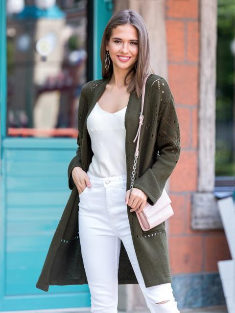 Вязаный кардиган oversize цвета хаки с карманами - 38750, фото 1 – интернет-магазин Dressa