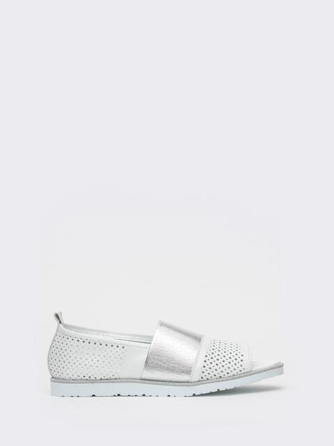 Белые балетки из кожи с перфорацией - 39673, фото 1 – интернет-магазин Dressa