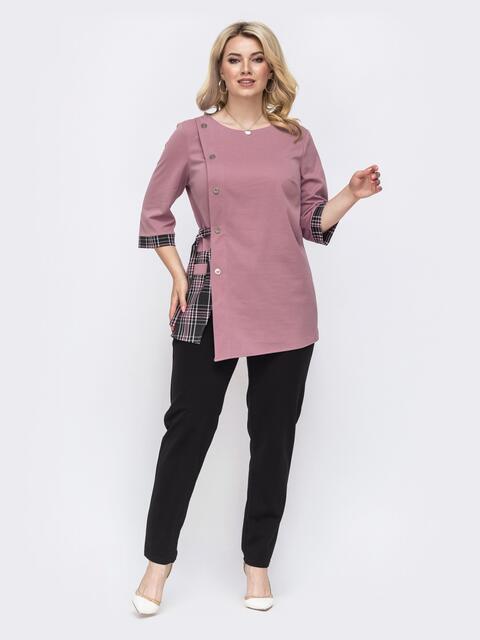 Брючный комплект большого размера розовый 49831, фото 1