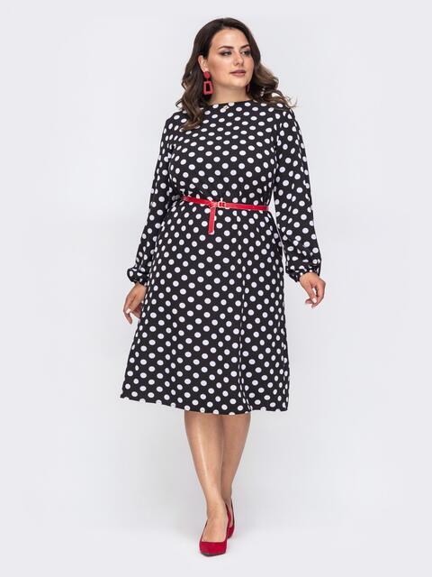 Чёрное платье-трапеция большого размера в горох 49869, фото 1