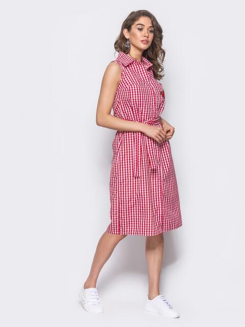Красное платье-рубашка с нашивкой на кармане 10797, фото 1