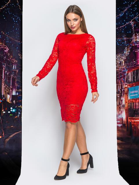 Обтягивающее платье красного цвета из гипюра - 18173, фото 1 – интернет-магазин Dressa