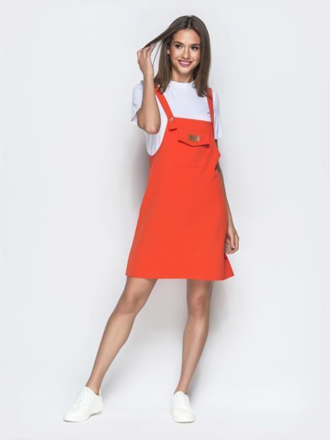 Оранжевый сарафан-мини с накладным карманом 39408, фото 1