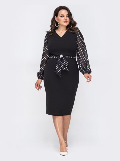 Платье большого размера с рукавами из шифона в горох чёрное 49868, фото 1