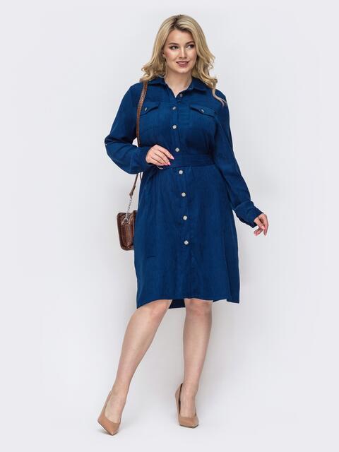 Платье-рубашка большого размера из вельвета синее 49832, фото 1