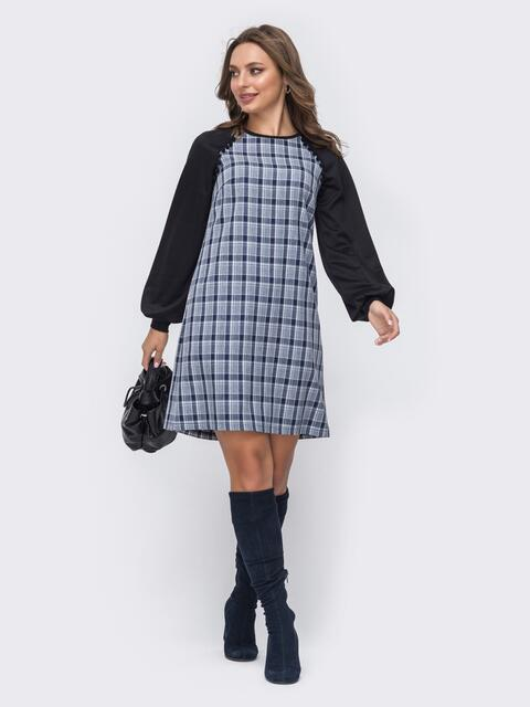 Платье-трапеция из костюмки с трикотажными рукавами-реглан синее 51360, фото 1