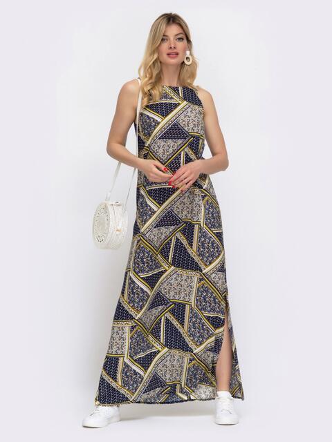 Принтованное платье-макси из штапеля с высокими разрезами по бокам - 48039, фото 1 – интернет-магазин Dressa