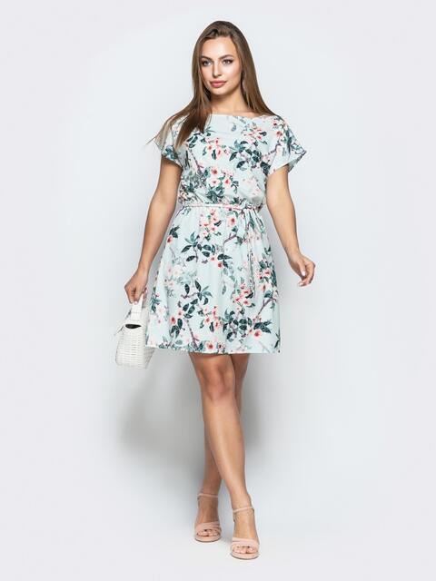 Приталенное платье бирюзового цвета с цветочным принтом - 21816, фото 1 – интернет-магазин Dressa