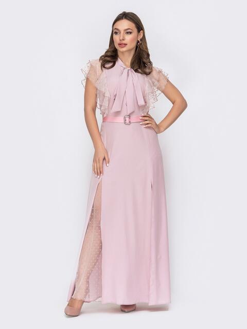 """Розовое платье с воротником-аскот и рукавом """"крылышко"""" 53436, фото 1"""