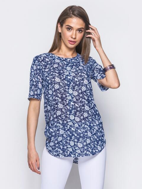 Шифоновая блузка с закругленным низом в белые цветы 10027, фото 1