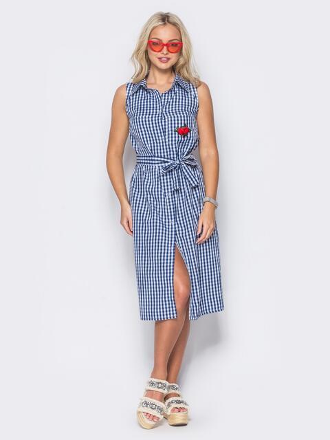 синее платье-рубашку с нашивкой на кармане 10798, фото 1
