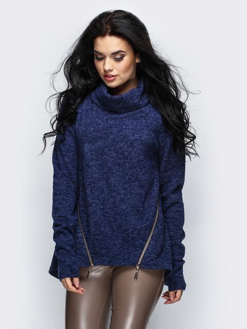 Туника с широким воротом и косыми молниями на полочке тёмно-синяя - 16531, фото 1 – интернет-магазин Dressa