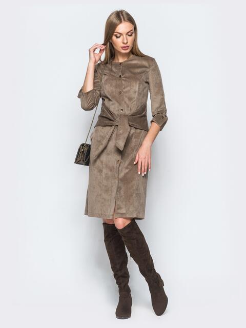 Вельветовое платье на кнопках со вшитым поясом бежевое - 17345, фото 1 – интернет-магазин Dressa