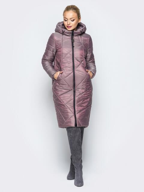 Зимняя куртка серо-розового цвета с кулиской на капюшоне - 16994, фото 1 – интернет-магазин Dressa