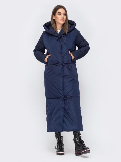 Зимняя куртка в пол со вшитым капюшоном синяя - 43179, фото 1 – интернет-магазин Dressa