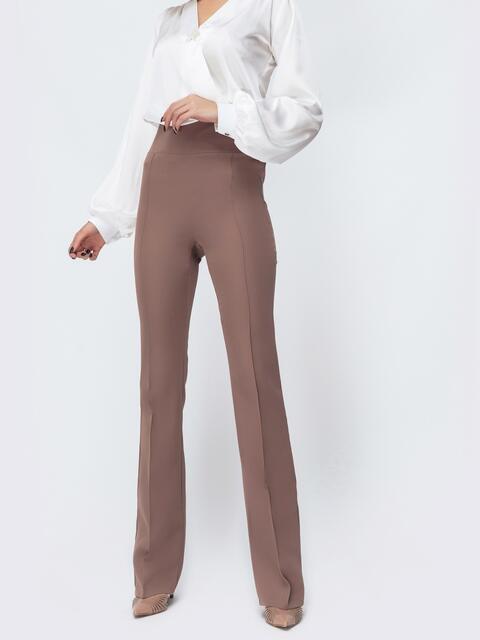 Бежевые брюки-клёш с высокой посадкой - 44075, фото 1 – интернет-магазин Dressa