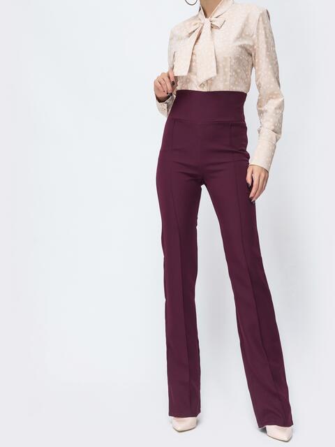 Бордовые брюки-клёш с высокой посадкой - 44076, фото 1 – интернет-магазин Dressa