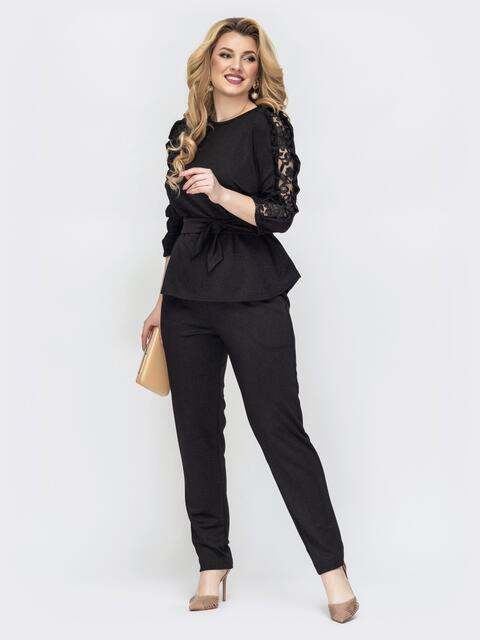 Брючный комплект большого размера с блузкой чёрный - 44493, фото 1 – интернет-магазин Dressa