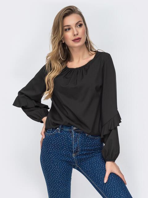 Чёрная блузка с присборенными манжетами и вырезом - 44070, фото 1 – интернет-магазин Dressa