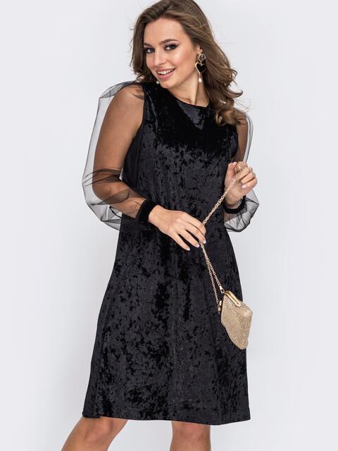 Черное платье-трапеция из бархата с фатиновыми рукавами 51976, фото 1
