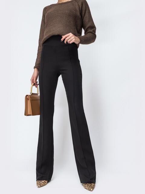 Чёрные брюки-клёш с высокой посадкой - 44073, фото 1 – интернет-магазин Dressa