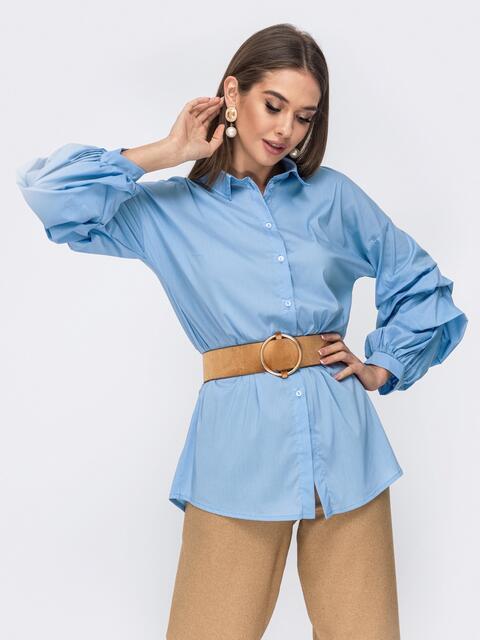 Голубая рубашка со спущенной линией плеч - 44067, фото 1 – интернет-магазин Dressa