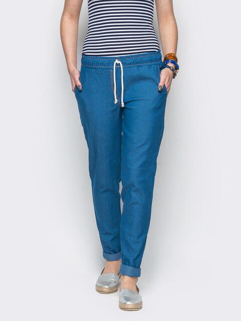 Хлопковые брюки со шнурком синие - 10294, фото 1 – интернет-магазин Dressa
