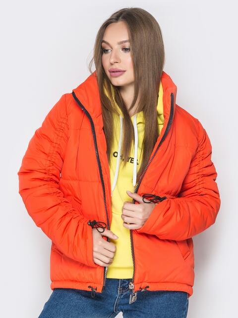 Оранжевая куртка на кулиске снизу и воротником-стойкой - 20062, фото 1 – интернет-магазин Dressa